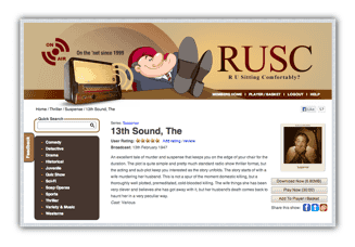 Screenshot of the details page for an old time radio show on RUSC